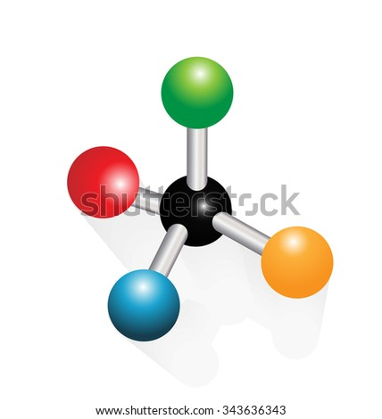 Vector colorful molecule structure icon illustration in vivid colors - stock vector