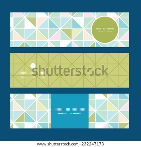 Vector colorful pastel triangle texture horizontal banners set pattern background - stock vector