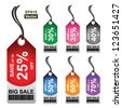 Vector: Colorful 25 - 70 Percent OFF Big Sale Price Tag Isolated on White Background - stock vector