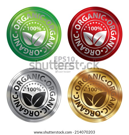 Vector : Colorful Product Information Material or Ingredient, Circle Red Metallic Style 100 Percent Organic Sticker, Rubber Stamp, Icon, Tag or Label Isolated on White Background  - stock vector