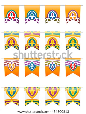 Vector Colorful Ramadan Traditional Decorative Flags - stock vector