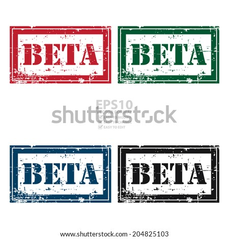 Vector : Colorful Rectangle Grunge Style Beta Icon, Rubber Stamp or Label Isolated on White Background - stock vector