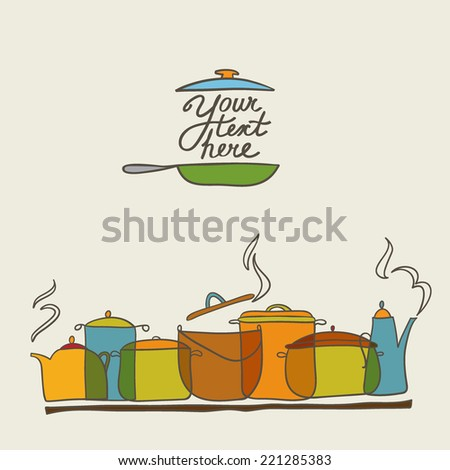 vector  colorful saucepan card with teapot, saucepan. It can be used for card, menu, banner, sticker, wallpaper. - stock vector