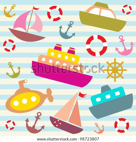 vector colorful sea transport background - stock vector