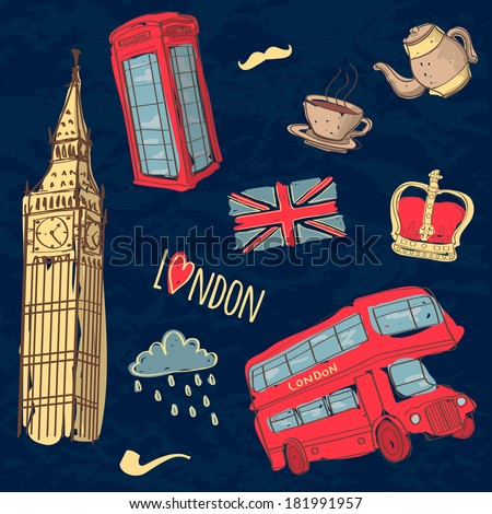 Vector colorful set of hand-drawn London symbols - stock vector