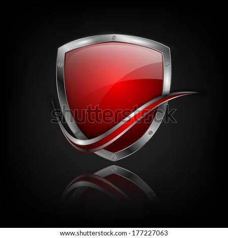 vector colorful shield with metallic border, bright curle and reflections. Eps10 - stock vector