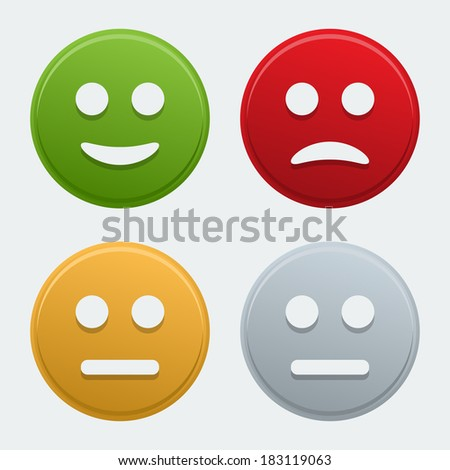 Vector colorful smile icons - stock vector