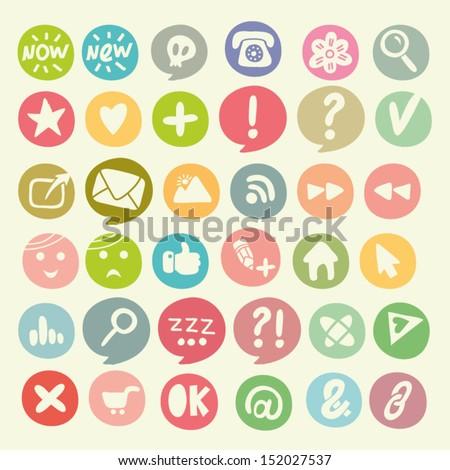 Vector colorful social icon set. - stock vector