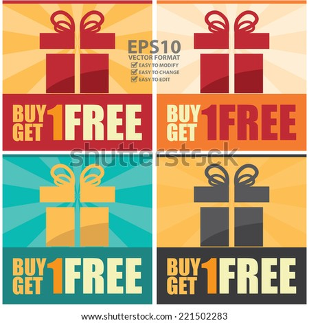Vector : Colorful Square Buy 1 Get 1 Free Icon, Sticker, Banner, Poster or Label Isolated on White Background - stock vector