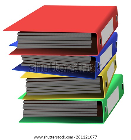 Vector colorful stacked office folders - stock vector