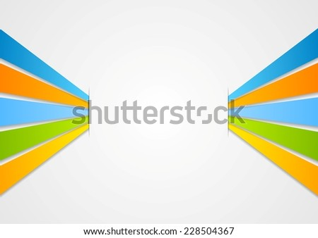 Vector colorful stripes on light background - stock vector