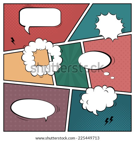 Vector colorful template of retro comic book page with various speech bubbles, rays, stars, dots, halftone background - stock vector