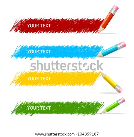 Vector colorful text box and pencils - stock vector