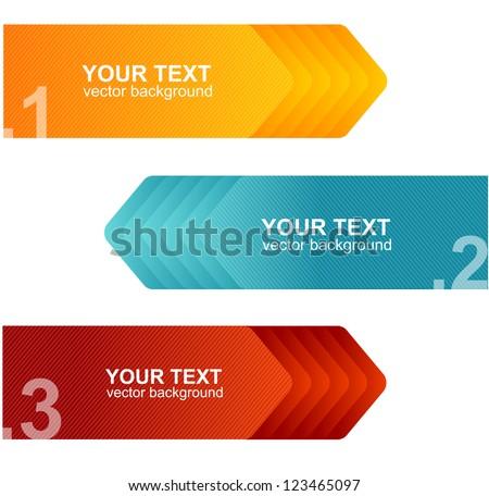 Vector colorful text box arrow - stock vector