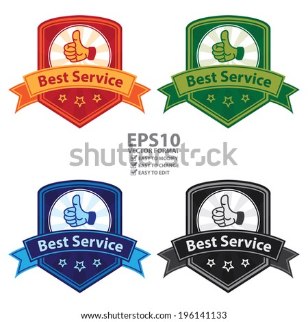 Vector : Colorful Vintage Style Best Service Badge, Icon, Button or Label Isolated on White Background - stock vector