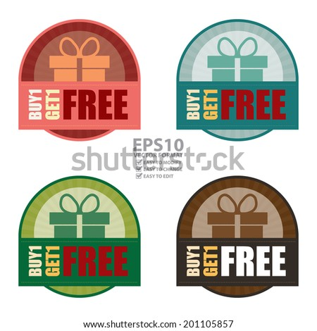 Vector : Colorful Vintage Style Buy1 Get1 Free Icon, Label or Sticker Isolated on White Background - stock vector