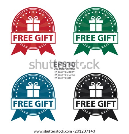 Vector : Colorful Vintage Style Free Gift Icon, Badge, Sticker or Label Isolated on White Background - stock vector