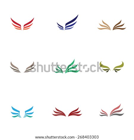 Vector colorful wing icons set - stock vector