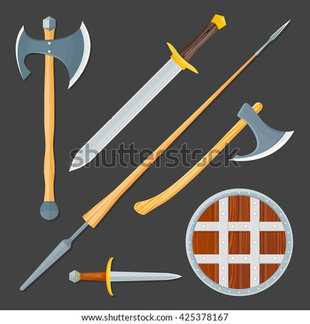 vector colorful wood textured flat design medieval various cold weapon collection shield, dagger, sword, lance, battle axes isolated illustration gray background - stock vector