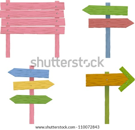 vector colorful wooden signs set 1 - stock vector