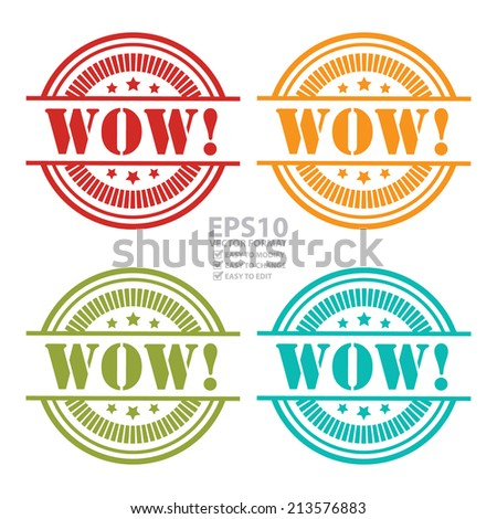 Vector : Colorful WOW Icon,Sticker or Label Isolated on White Background  - stock vector