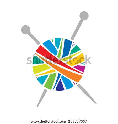 vector colorful yarn ball knit icon - stock vector