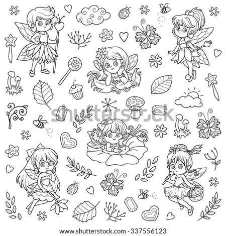 Vector colorless set about little fairies, cartoon collection - stock vector