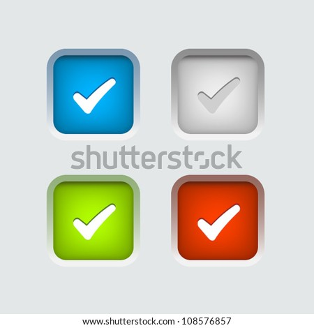 Vector colour check box set - stock vector