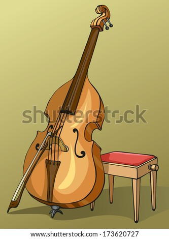 Vector colour drawing Double Bass with a bow, supported on a stool for a musician - stock vector