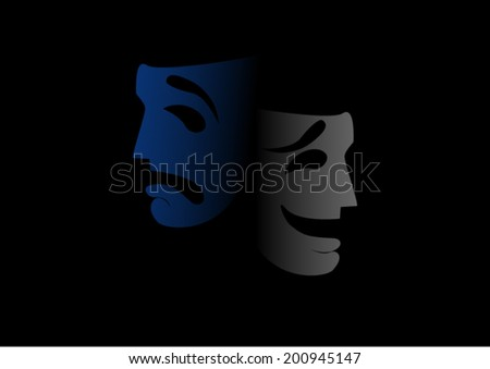 Vector Comedy and Tragedy masks on black background - stock vector