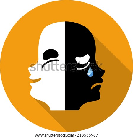 Vector Comedy and Tragedy Theatrical Masks - stock vector