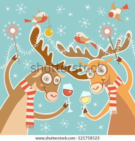 Vector comic christmas card. Couple of cheerful reindeer with glasses of wine, bird, sparklers, festive decoration. Concept of cheery party. Holiday illustration in cartoon style with funny personages - stock vector
