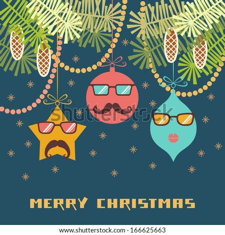 Vector comic christmas card. Cute christmas decoration with mustache and glasses. Hipster winter holiday illustration with greeting inscription. Simple original concept of funny party for print, web - stock vector