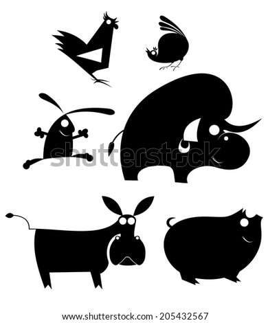 Vector comic farm animal silhouettes collection for design  - stock vector