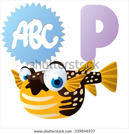 Vector comic funny cartoon animals alphabet: P is for Pufferfish - stock vector
