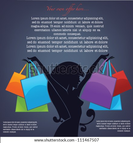 vector commercial background with girl silhouette and shopping bags - stock vector