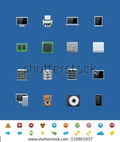 Vector common website icons. Hardware - stock vector