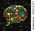 vector communication bubble made from colorful icons on black - stock vector
