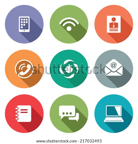 Vector Communication flat icons set - stock vector