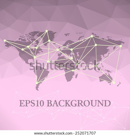 Vector communication, global network background with world map on polygonal background - stock vector