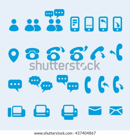 Vector communication user interface icons - stock vector