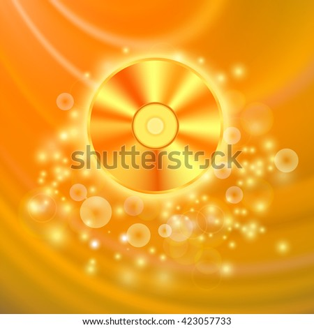 Vector Compact Disc Isolated on Orange Wave Blurred  Background - stock vector