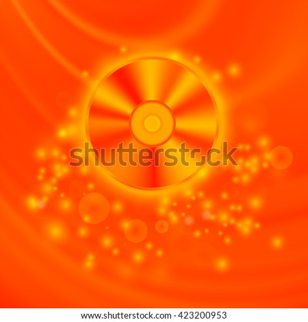 Vector Compact Disc Isolated on Red Wave Blurred Background - stock vector