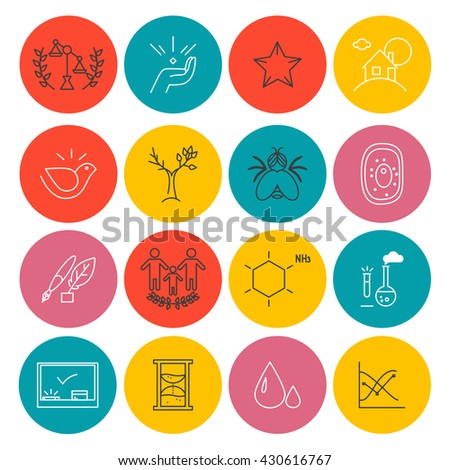 Vector company group icons concept isolated on white background. Flat icon set, logo, insignia, symbol, brand. Artistic collection for science, family clinic, social organization, laboratory, work. - stock vector