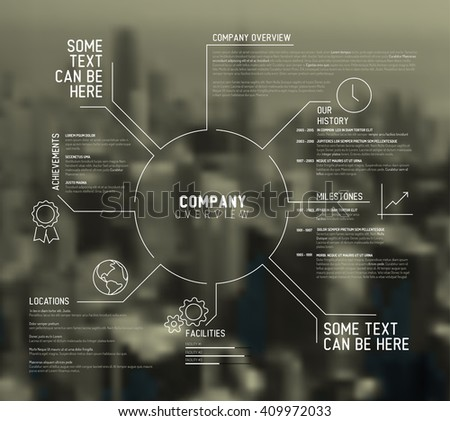 Vector Company infographic overview design template with city photo in the back - stock vector