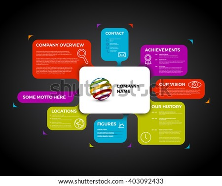 Vector Company infographic overview design template with colorful labels - dark version - stock vector