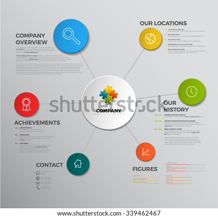 Vector Company infographic overview design template with icons - stock vector