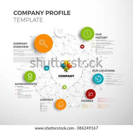 Vector Company infographic overview design template with network in the background - stock vector