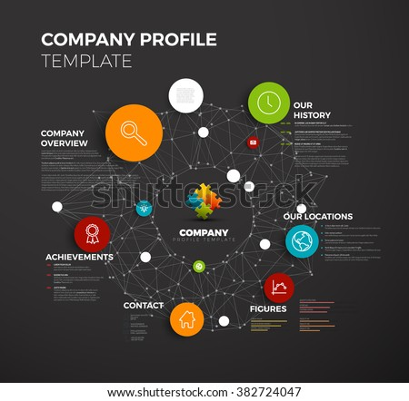 Vector Company infographic overview design template with network in the background - dark version - stock vector