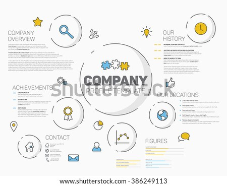 Vector Company infographic profile design template with modern hipster thin line icons  - stock vector